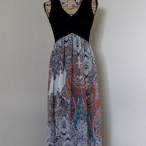 Boho Mandala Paisley Floral Bailey Blue Maxi Dress